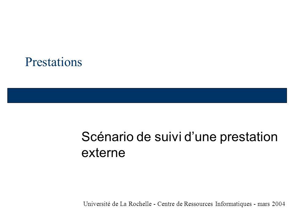 Prestations Scénario de suivi dune prestation externe Université de La Rochelle - Centre de Ressources Informatiques - mars 2004