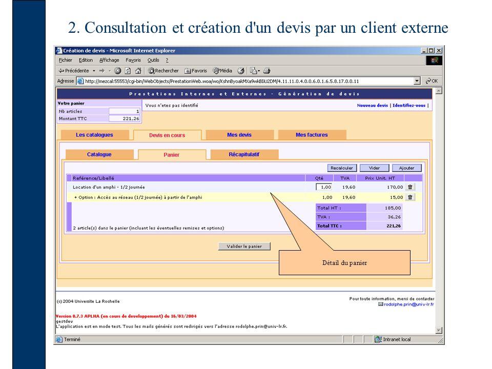 2. Consultation et création d un devis par un client externe Détail du panier