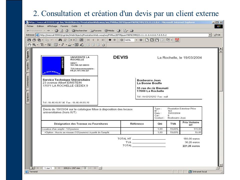 2. Consultation et création d'un devis par un client externe