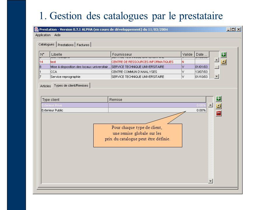 1. Gestion des catalogues par le prestataire Pour chaque type de client, une remise globale sur les prix du catalogue peut être définie.