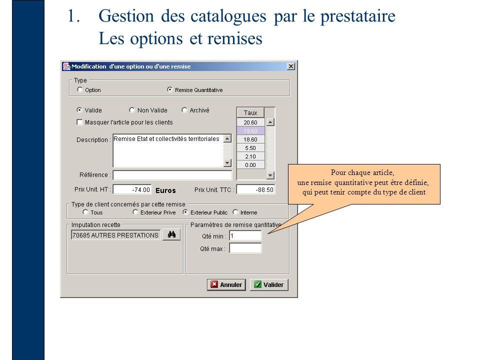 1.Gestion des catalogues par le prestataire Les options et remises Pour chaque article, une remise quantitative peut être définie, qui peut tenir compte du type de client