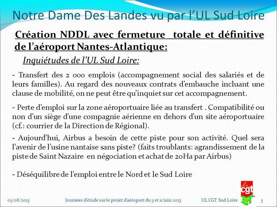 Notre Dame Des Landes vu par lUL Sud Loire Création NDDL avec maintien dune piste à usage restreint sur laéroport Nantes-Atlantique: - Définition dusage restreint: lié à un trafic ne nécessitant pas un plan dexposition au bruit (PEB) - Contrat de concession fait état du maintien de cette piste à usage restreint pour une durée de 3 ans 05/06/2013 Journées détude sur le projet daéroport du 5 et 11 juin 2013UL CGT Sud Loire 6