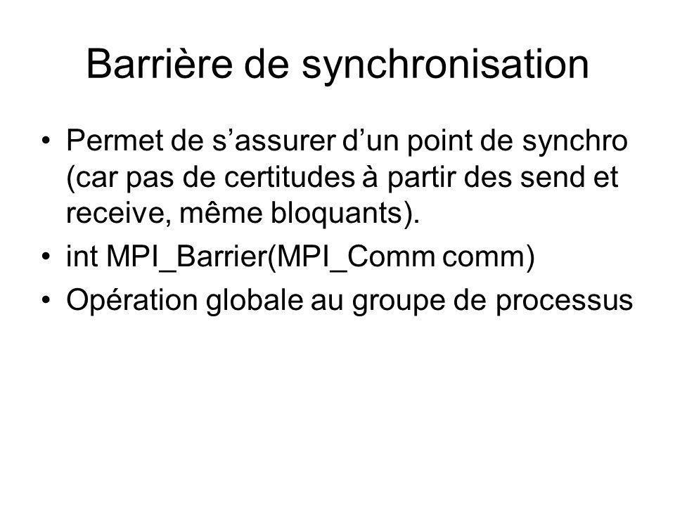 Barrière de synchronisation Permet de sassurer dun point de synchro (car pas de certitudes à partir des send et receive, même bloquants). int MPI_Barr