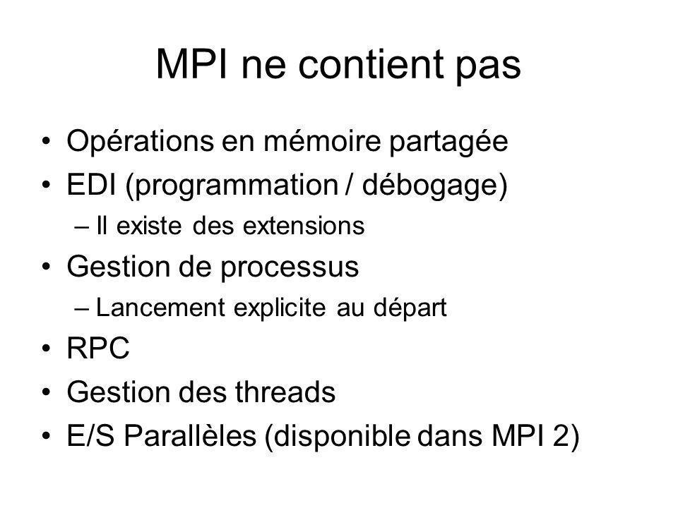 MPI ne contient pas Opérations en mémoire partagée EDI (programmation / débogage) –Il existe des extensions Gestion de processus –Lancement explicite