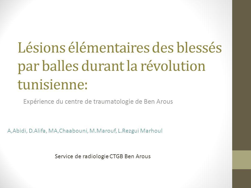 Lésions élémentaires des blessés par balles durant la révolution tunisienne: Expérience du centre de traumatologie de Ben Arous A,Abidi, D.Alifa, MA,C