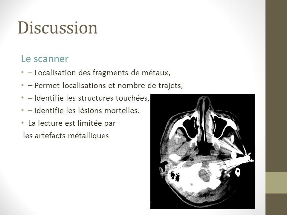 Discussion Le scanner – Localisation des fragments de métaux, – Permet localisations et nombre de trajets, – Identifie les structures touchées, – Iden