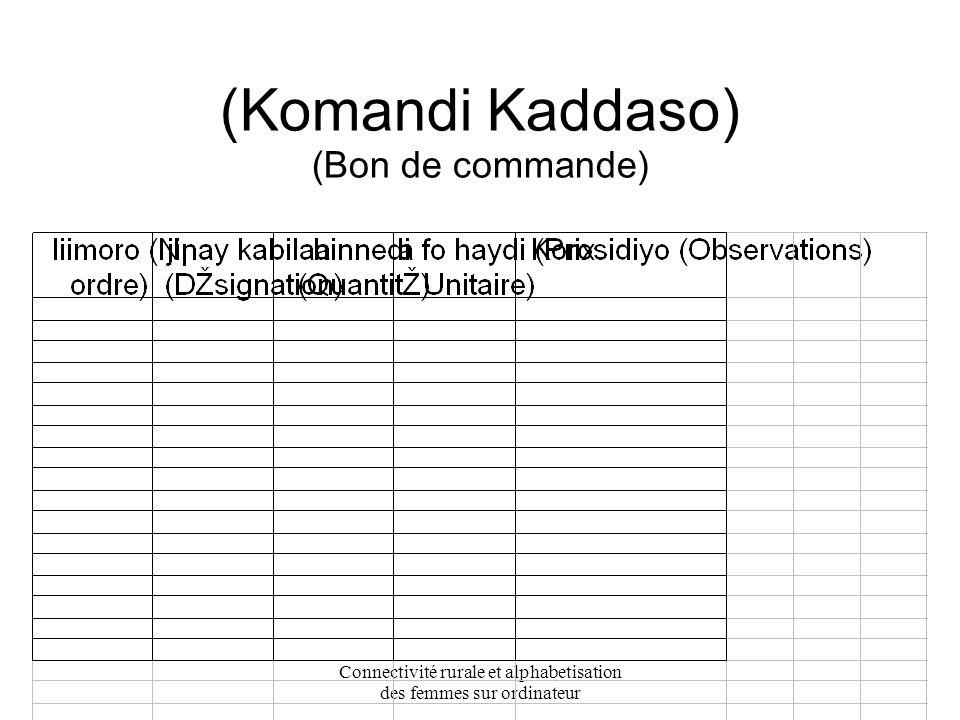Connectivité rurale et alphabetisation des femmes sur ordinateur konday ije kadasu (Registre des adhérents)