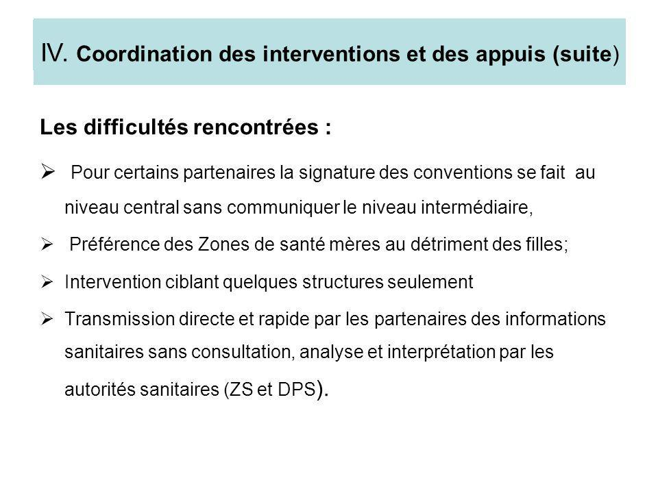 III.4. les difficultés rencontrées Les difficultés rencontrées : Pour certains partenaires la signature des conventions se fait au niveau central sans