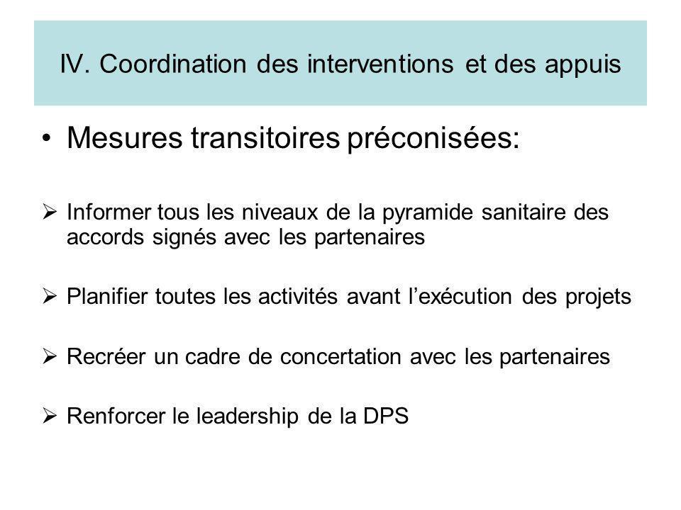 IV. Coordination des interventions et des appuis Mesures transitoires préconisées: Informer tous les niveaux de la pyramide sanitaire des accords sign