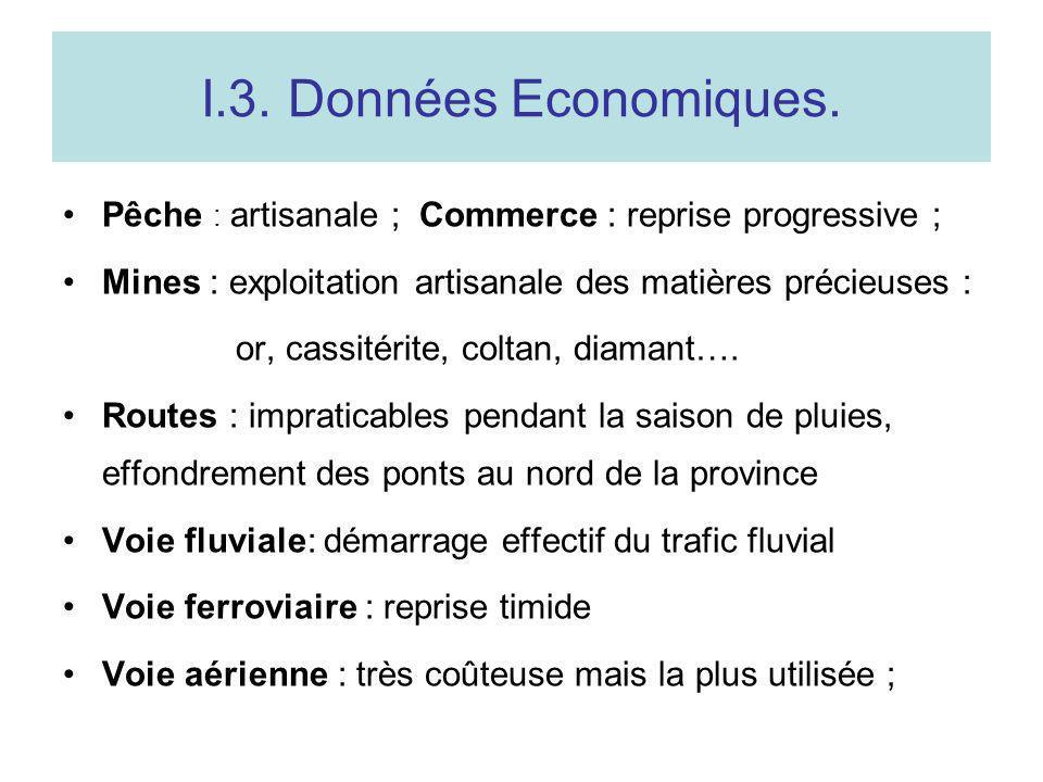 I.3. Données Economiques. Pêche : artisanale ; Commerce : reprise progressive ; Mines : exploitation artisanale des matières précieuses : or, cassitér