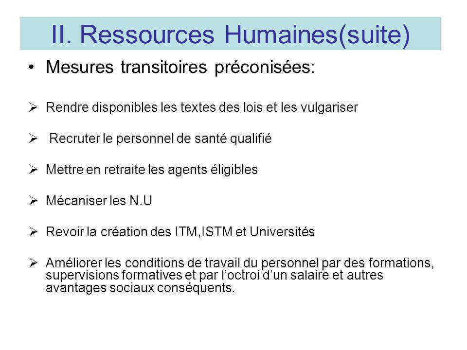 II. Ressources Humaines(suite) Mesures transitoires préconisées: Rendre disponibles les textes des lois et les vulgariser Recruter le personnel de san