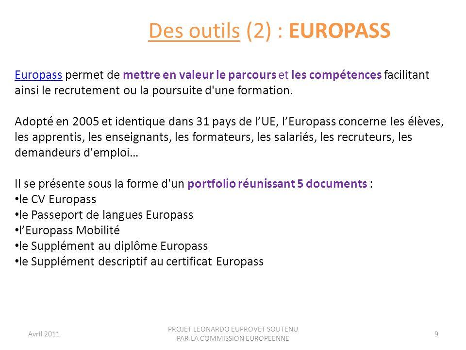 Avril 2011 PROJET LEONARDO EUPROVET SOUTENU PAR LA COMMISSION EUROPEENNE 10 En France, près dun quart des demandeurs demploi de longue durée ne possède pas le niveau V de formation.
