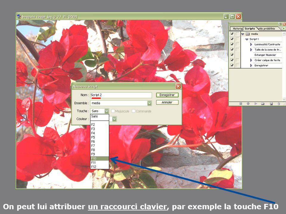 Apres avoir créer mes 2 dossiers X Y Ouvrir une image du dossier X Ouvrir la fenêtre scripts Cliquer sur nouvel ensemble OK Cliquer sur nouveau script Dans cette fenêtre choisir une touche (ex.