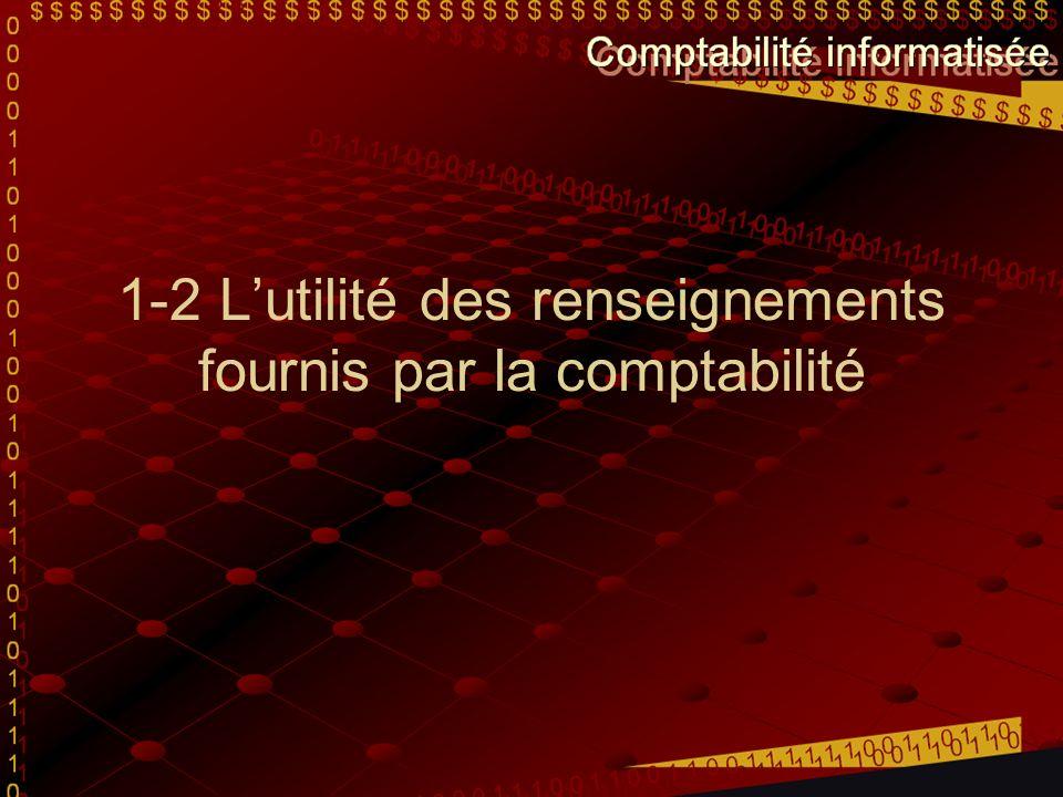 1-2 Lutilité des renseignements fournis par la comptabilité