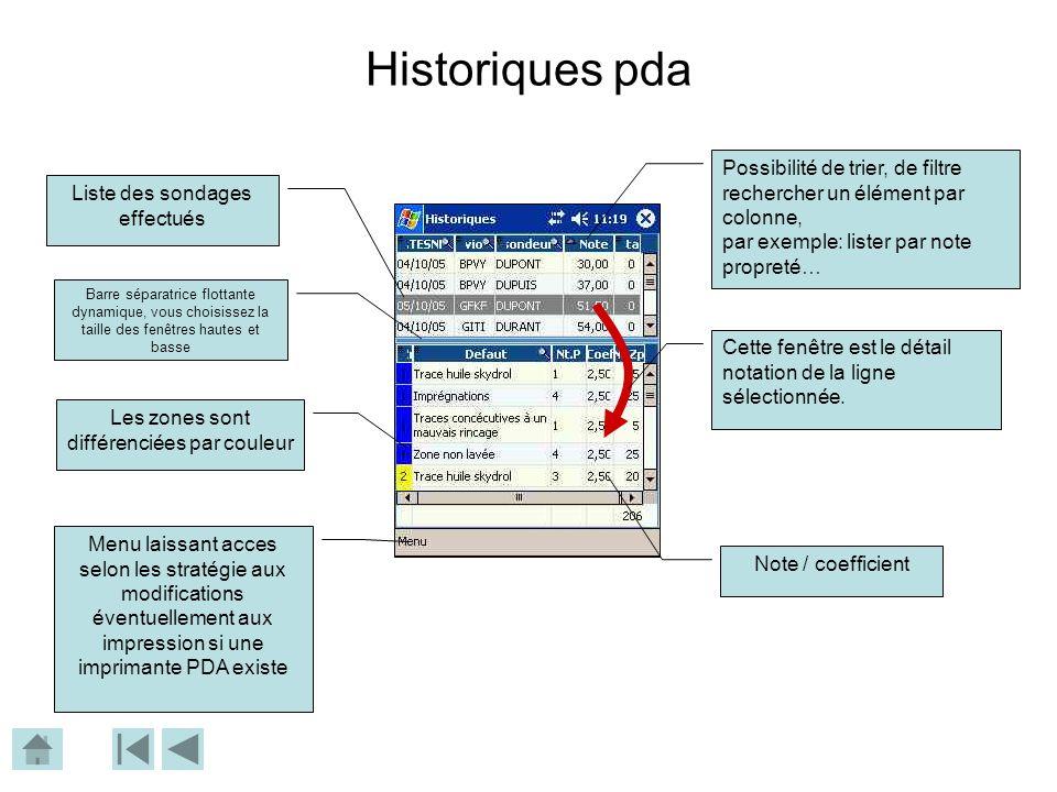Historiques pda Liste des sondages effectués Possibilité de trier, de filtre rechercher un élément par colonne, par exemple: lister par note propreté… Cette fenêtre est le détail notation de la ligne sélectionnée.