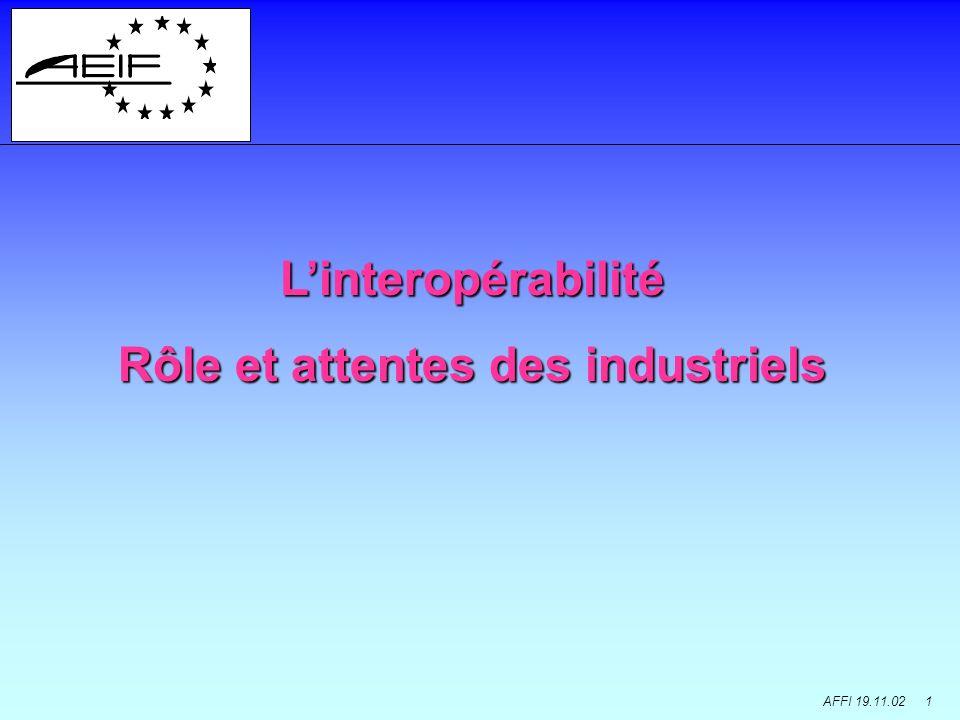 AFFI 19.11.02 1 Linteropérabilité Rôle et attentes des industriels