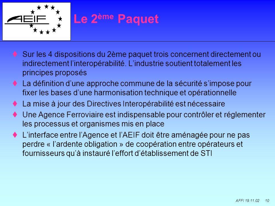 AFFI 19.11.02 10 Sur les 4 dispositions du 2ème paquet trois concernent directement ou indirectement linteropérabilité. Lindustrie soutient totalement