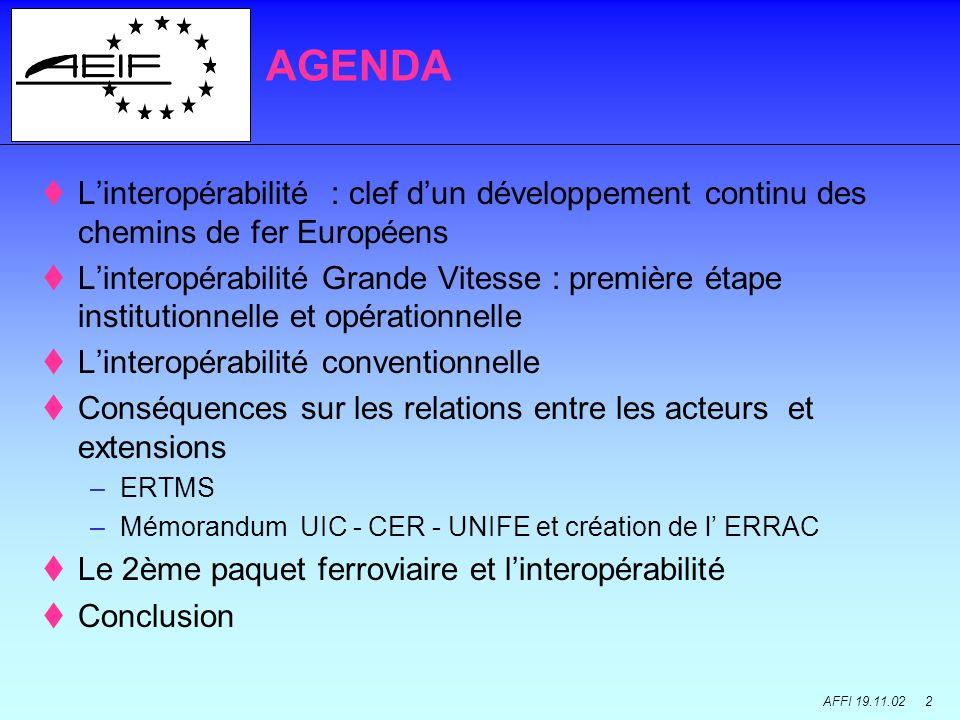 AFFI 19.11.02 2 Linteropérabilité : clef dun développement continu des chemins de fer Européens Linteropérabilité Grande Vitesse : première étape inst