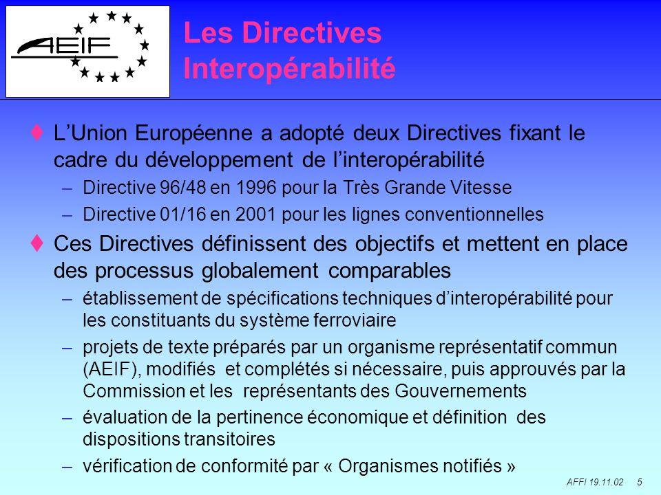 AFFI 19.11.02 5 LUnion Européenne a adopté deux Directives fixant le cadre du développement de linteropérabilité –Directive 96/48 en 1996 pour la Très Grande Vitesse –Directive 01/16 en 2001 pour les lignes conventionnelles Ces Directives définissent des objectifs et mettent en place des processus globalement comparables –établissement de spécifications techniques dinteropérabilité pour les constituants du système ferroviaire –projets de texte préparés par un organisme représentatif commun (AEIF), modifiés et complétés si nécessaire, puis approuvés par la Commission et les représentants des Gouvernements –évaluation de la pertinence économique et définition des dispositions transitoires –vérification de conformité par « Organismes notifiés » Les Directives Interopérabilité