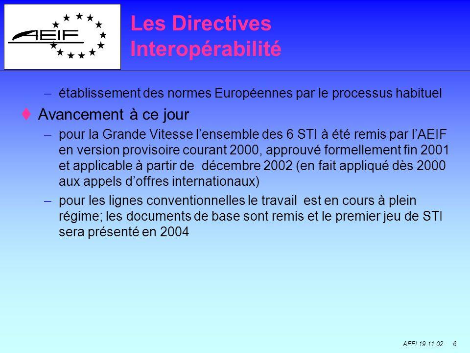 AFFI 19.11.02 6 –établissement des normes Européennes par le processus habituel Avancement à ce jour –pour la Grande Vitesse lensemble des 6 STI à été remis par lAEIF en version provisoire courant 2000, approuvé formellement fin 2001 et applicable à partir de décembre 2002 (en fait appliqué dès 2000 aux appels doffres internationaux) –pour les lignes conventionnelles le travail est en cours à plein régime; les documents de base sont remis et le premier jeu de STI sera présenté en 2004 Les Directives Interopérabilité