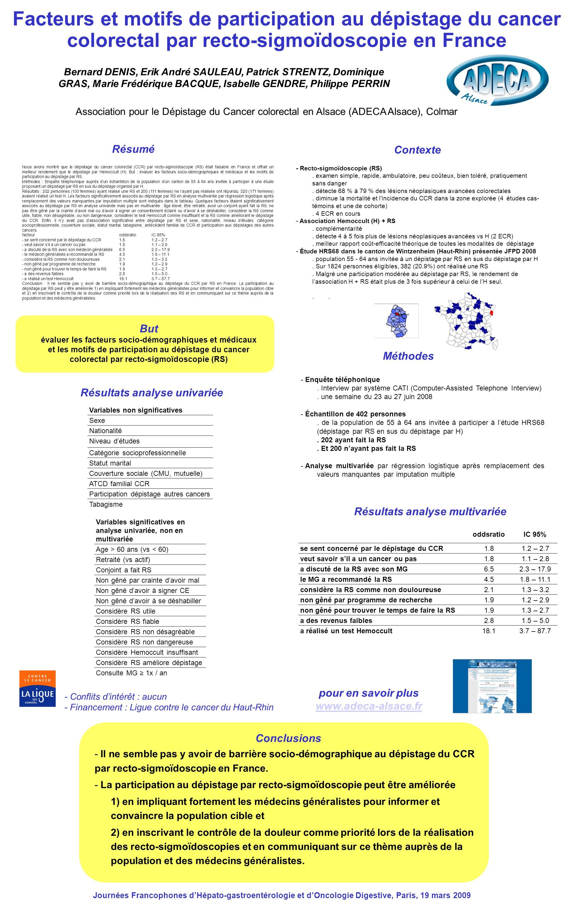 Résultats analyse univariée Nous avons montré que le dépistage du cancer colorectal (CCR) par recto-sigmoïdoscopie (RS) était faisable en France et of