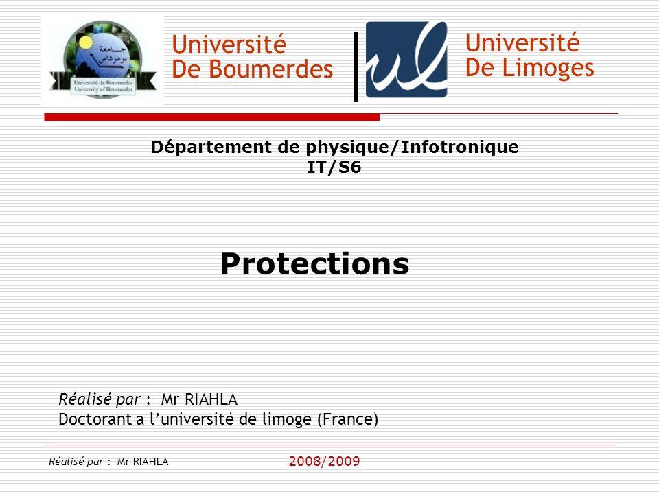 Université De Boumerdes Département de physique/Infotronique IT/S6 Réalisé par : Mr RIAHLA Doctorant a luniversité de limoge (France) 2008/2009 Université De Limoges Introduction Réalisé par : Mr RIAHLA
