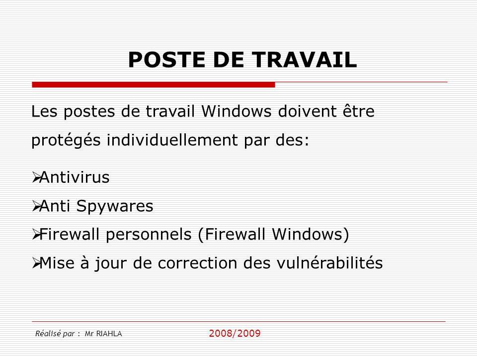 2008/2009 Réalisé par : Mr RIAHLA POSTE DE TRAVAIL Antivirus Anti Spywares Firewall personnels (Firewall Windows) Mise à jour de correction des vulnér