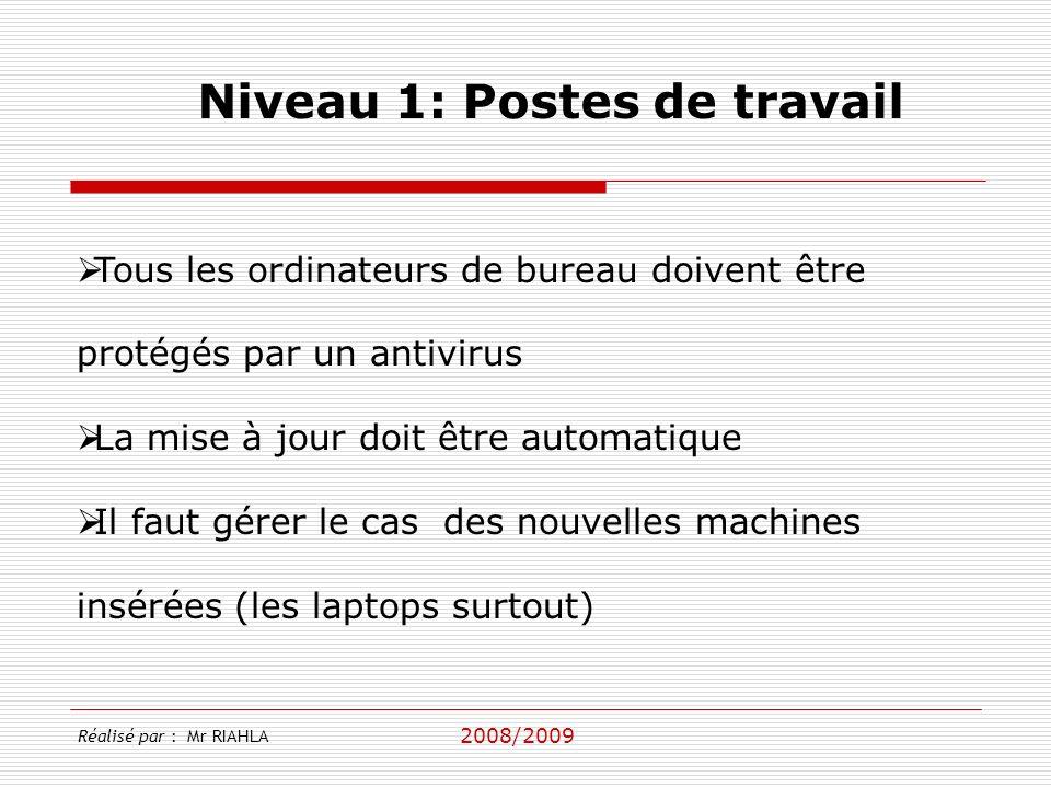 2008/2009 Réalisé par : Mr RIAHLA Niveau 1: Postes de travail Tous les ordinateurs de bureau doivent être protégés par un antivirus La mise à jour doi