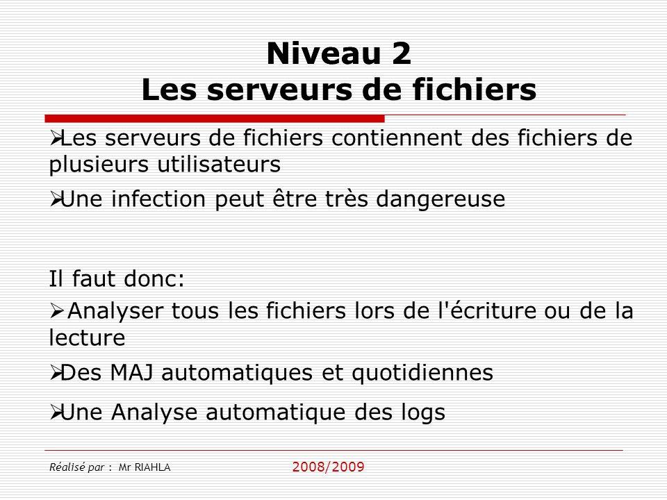2008/2009 Réalisé par : Mr RIAHLA Niveau 2 Les serveurs de fichiers Les serveurs de fichiers contiennent des fichiers de plusieurs utilisateurs Une in