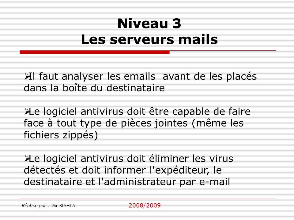 2008/2009 Réalisé par : Mr RIAHLA Niveau 3 Les serveurs mails Il faut analyser les emails avant de les placés dans la boîte du destinataire Le logicie