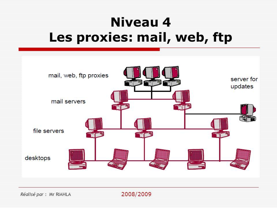 2008/2009 Réalisé par : Mr RIAHLA Niveau 4 Les proxies: mail, web, ftp