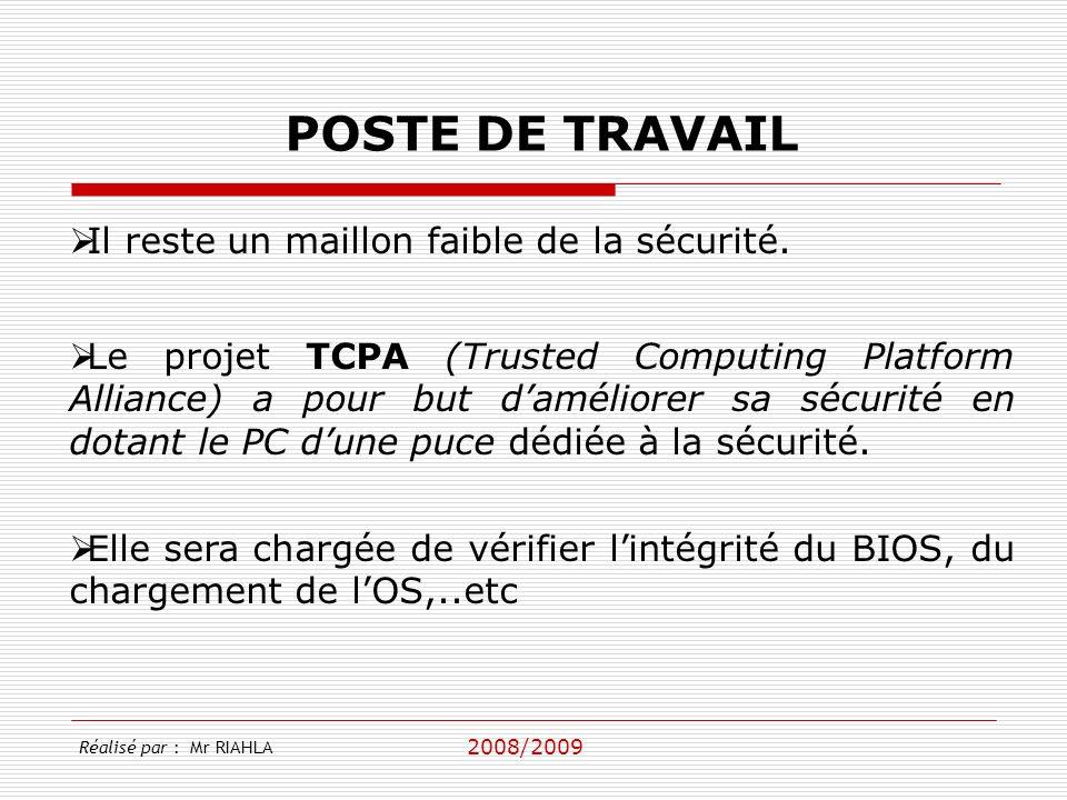 2008/2009 Réalisé par : Mr RIAHLA POSTE DE TRAVAIL Antivirus Anti Spywares Firewall personnels (Firewall Windows) Mise à jour de correction des vulnérabilités Les postes de travail Windows doivent être protégés individuellement par des: