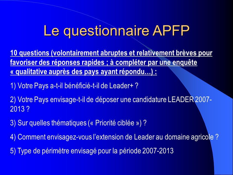 Le questionnaire APFP 10 questions (volontairement abruptes et relativement brèves pour favoriser des réponses rapides ; à compléter par une enquête « qualitative auprès des pays ayant répondu…) : 1) Votre Pays a-t-il bénéficié-t-il de Leader+ .