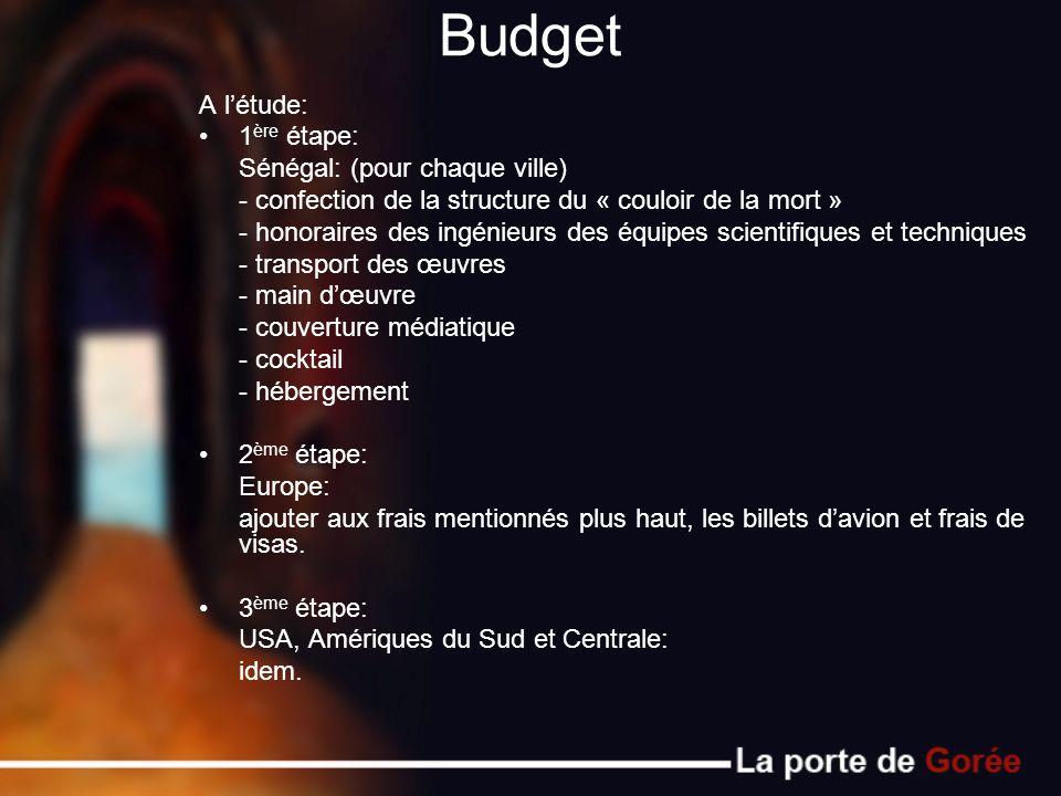 Budget A létude: 1 ère étape: Sénégal: (pour chaque ville) - confection de la structure du « couloir de la mort » - honoraires des ingénieurs des équi