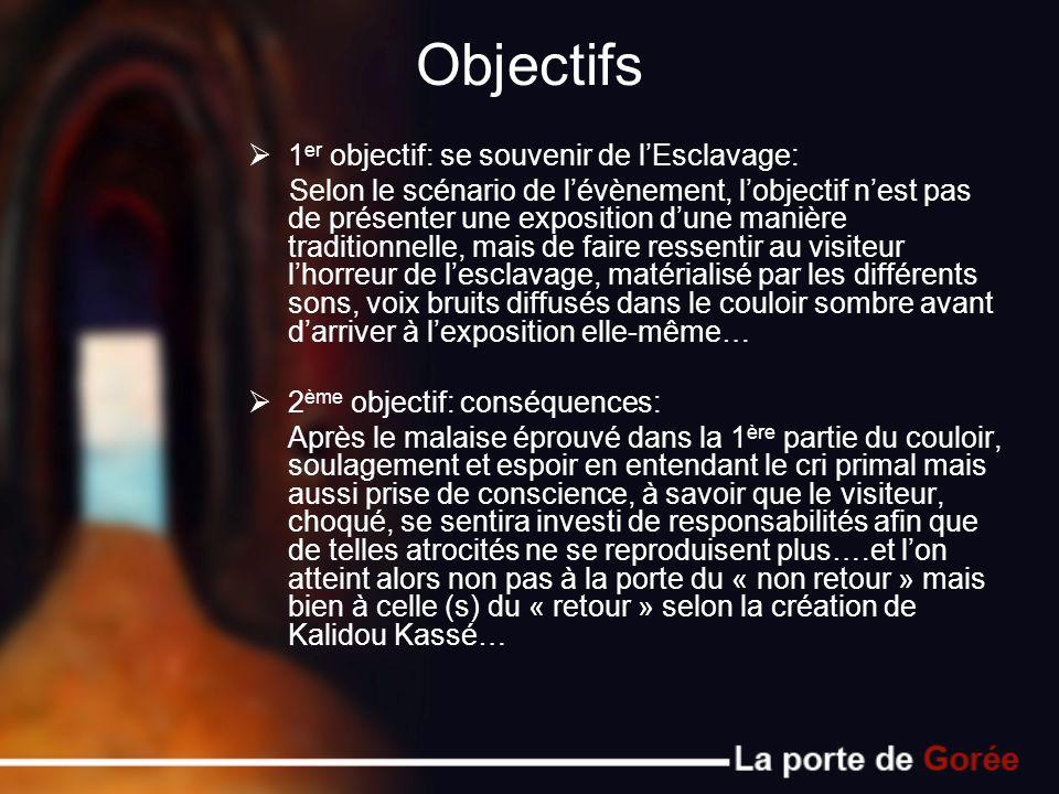 Objectifs 1 er objectif: se souvenir de lEsclavage: Selon le scénario de lévènement, lobjectif nest pas de présenter une exposition dune manière tradi