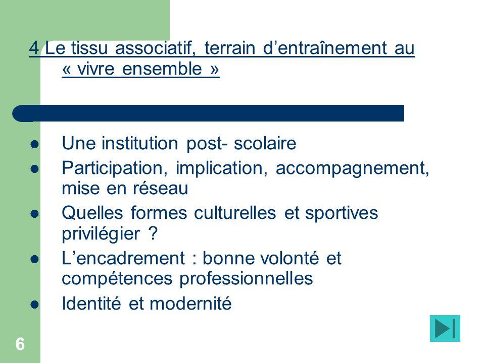 6 4 Le tissu associatif, terrain dentraînement au « vivre ensemble » Une institution post- scolaire Participation, implication, accompagnement, mise en réseau Quelles formes culturelles et sportives privilégier .