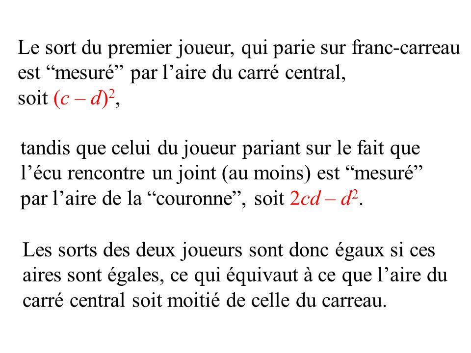 tandis que celui du joueur pariant sur le fait que lécu rencontre un joint (au moins) est mesuré par laire de la couronne, soit 2cd – d 2. Le sort du