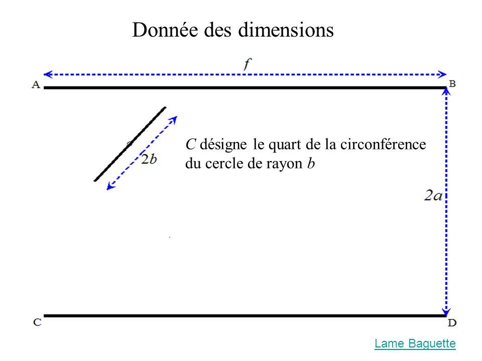 Lame Baguette Donnée des dimensions C désigne le quart de la circonférence du cercle de rayon b