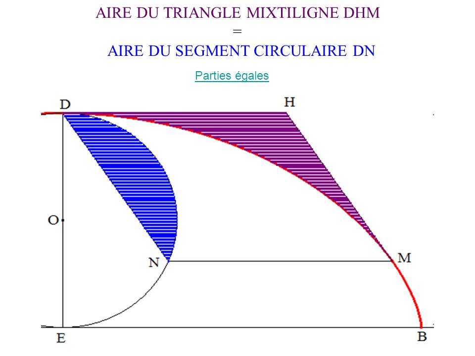 AIRE DU TRIANGLE MIXTILIGNE DHM = AIRE DU SEGMENT CIRCULAIRE DN Parties égales