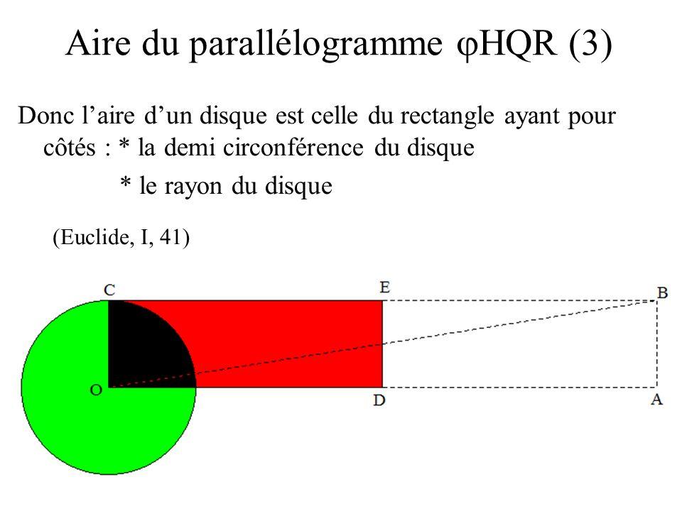 Donc laire dun disque est celle du rectangle ayant pour côtés : * la demi circonférence du disque * le rayon du disque Aire du parallélogramme HQR (3)