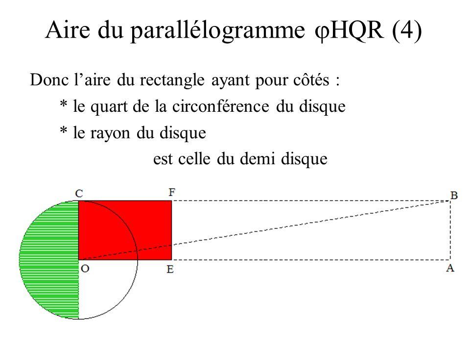 Donc laire du rectangle ayant pour côtés : * le quart de la circonférence du disque * le rayon du disque est celle du demi disque Aire du parallélogra