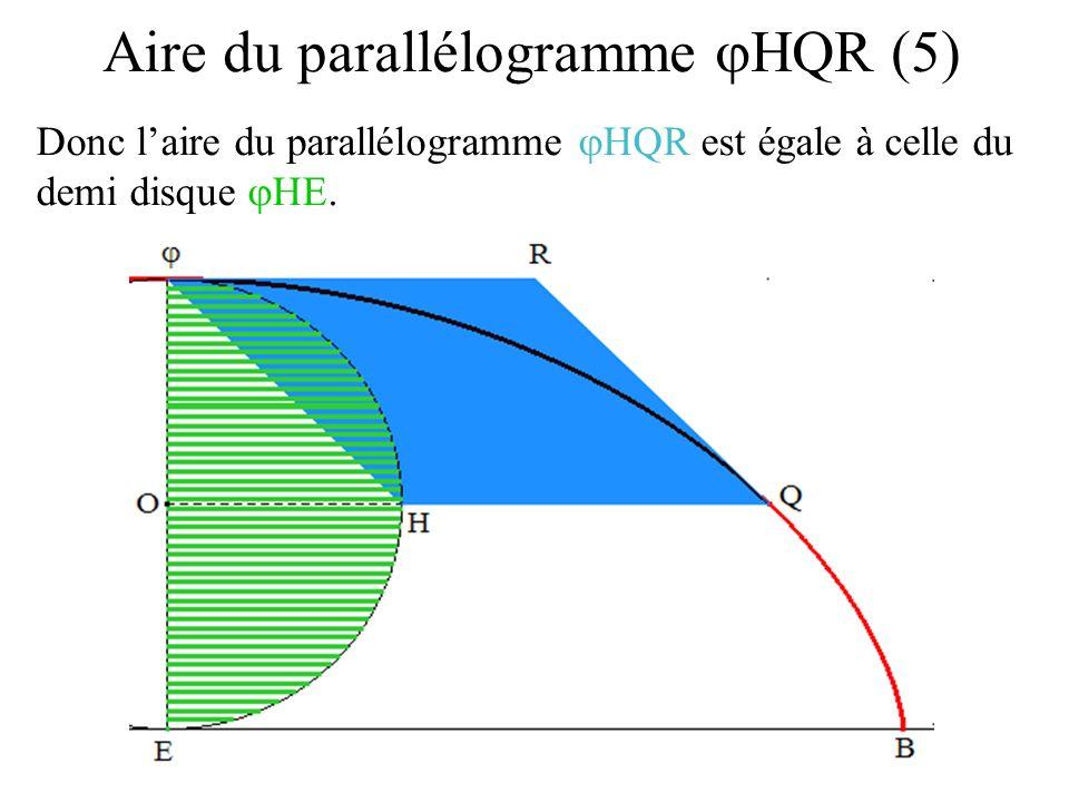 Donc laire du parallélogramme HQR est égale à celle du demi disque HE. Aire du parallélogramme HQR (5)