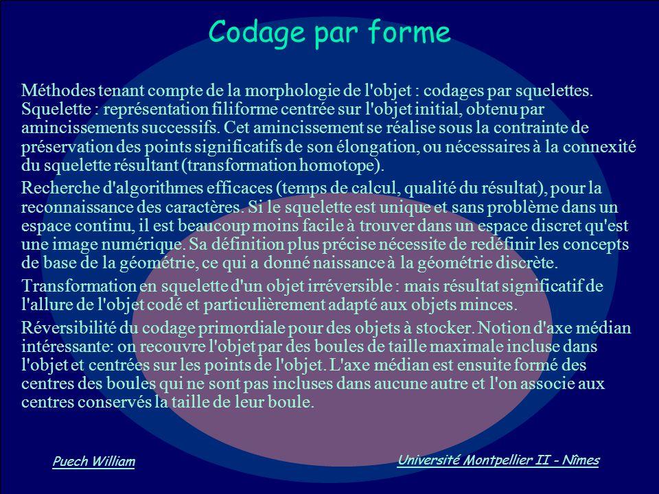 Vision par Ordinateur Puech William Université Montpellier II - Nîmes Codage par forme Méthodes tenant compte de la morphologie de l'objet : codages p