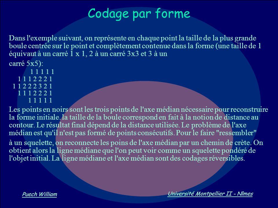 Vision par Ordinateur Puech William Université Montpellier II - Nîmes Codage par forme Dans l'exemple suivant, on représente en chaque point la taille