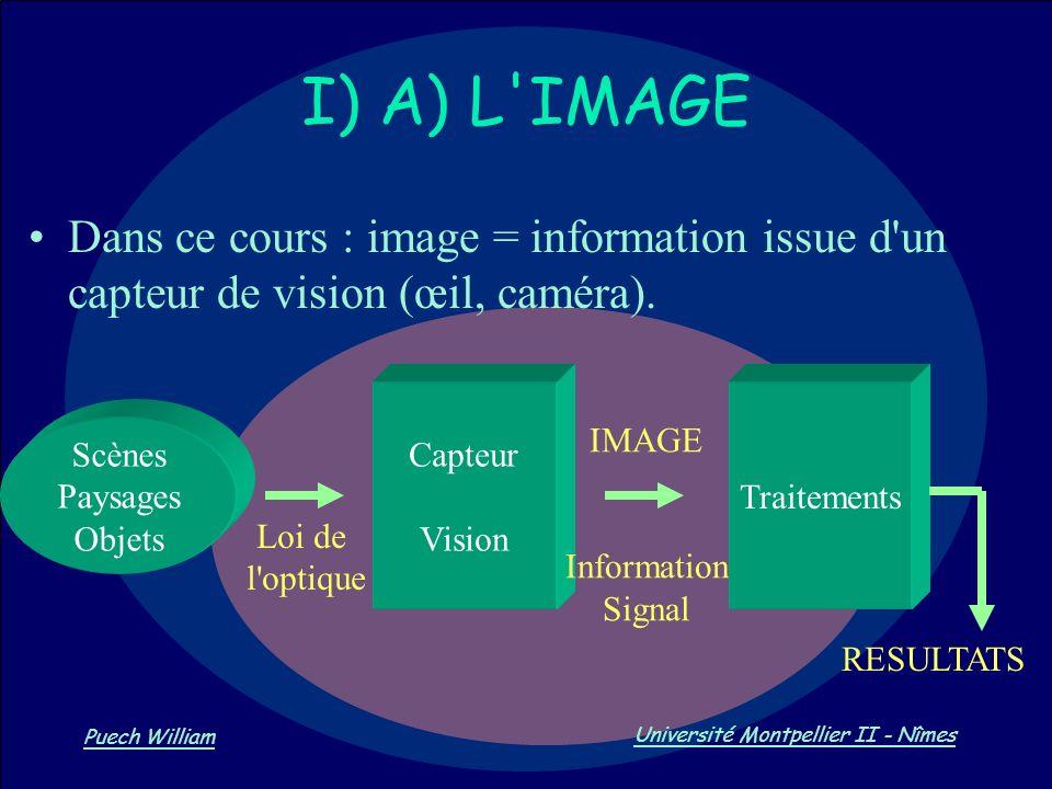 Vision par Ordinateur Puech William Université Montpellier II - Nîmes Dans ce cours : image = information issue d'un capteur de vision (œil, caméra).