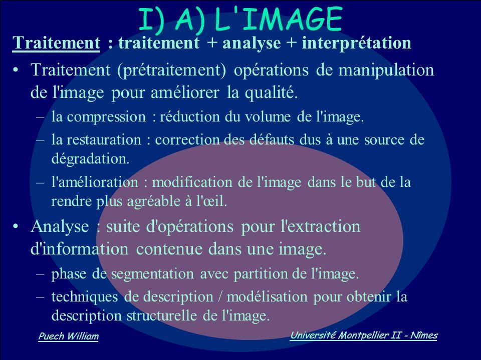 Vision par Ordinateur Puech William Université Montpellier II - Nîmes Traitement : traitement + analyse + interprétation Traitement (prétraitement) op
