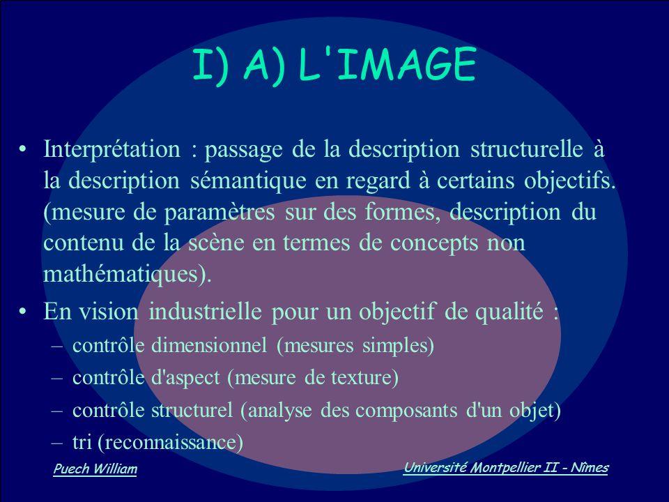 Vision par Ordinateur Puech William Université Montpellier II - Nîmes Interprétation : passage de la description structurelle à la description sémanti