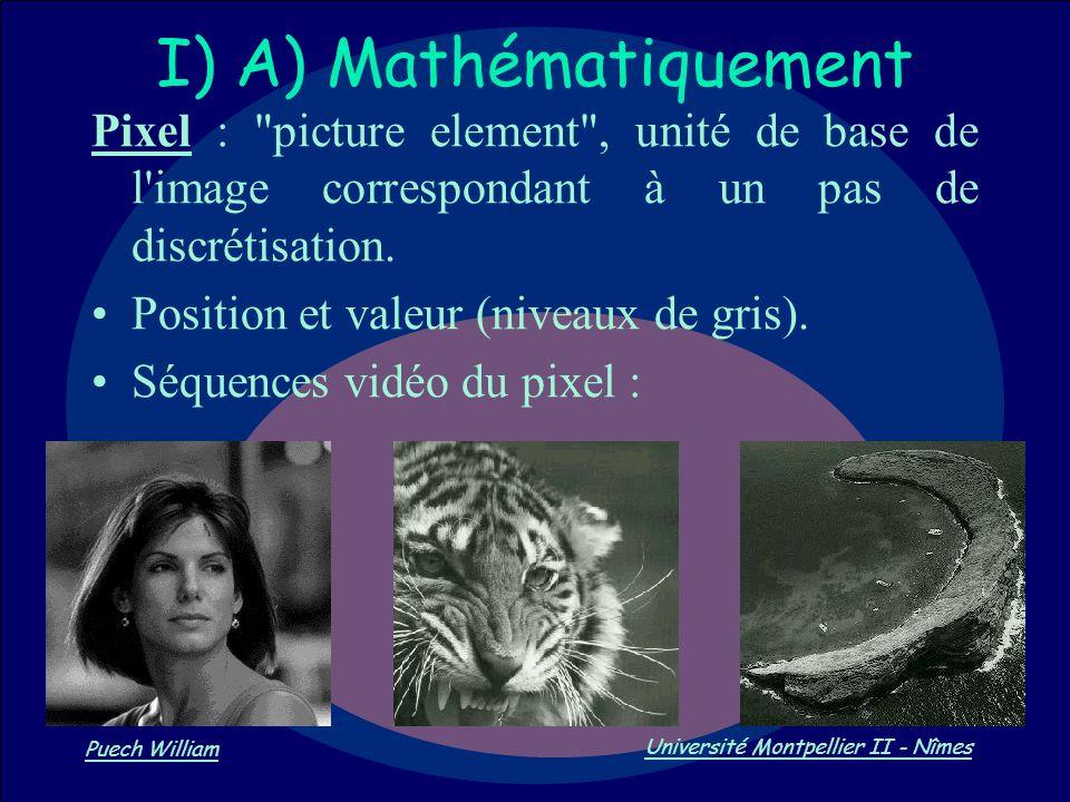Vision par Ordinateur Puech William Université Montpellier II - Nîmes I) A) Mathématiquement Pixel :