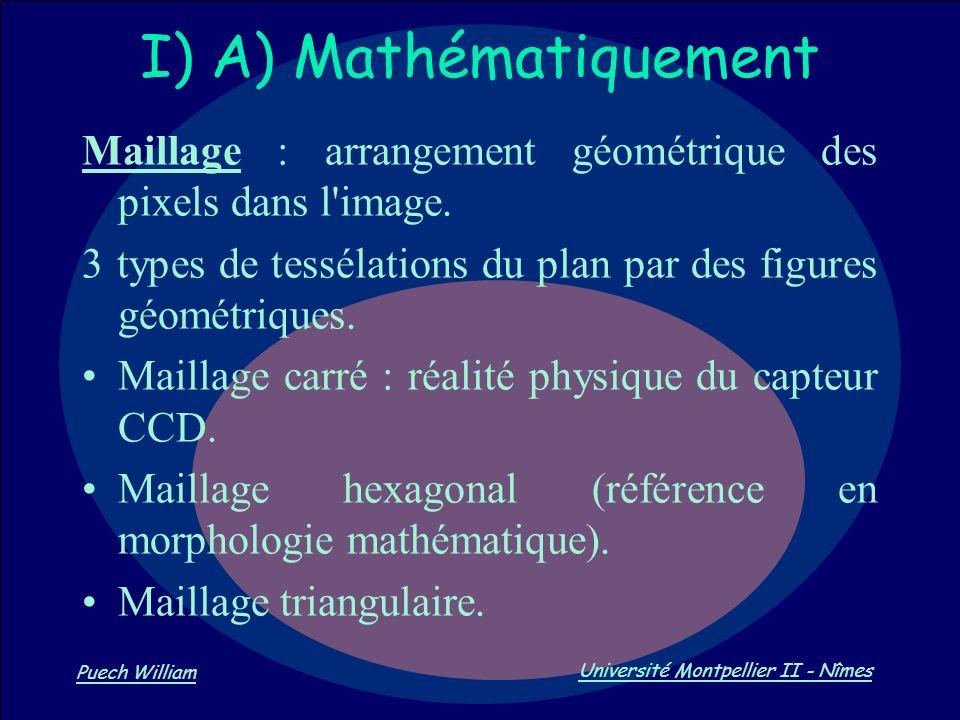 Vision par Ordinateur Puech William Université Montpellier II - Nîmes I) A) Mathématiquement Maillage : arrangement géométrique des pixels dans l'imag