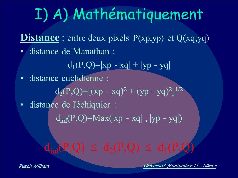 Vision par Ordinateur Puech William Université Montpellier II - Nîmes I) A) Mathématiquement Distance : entre deux pixels P(xp,yp) et Q(xq,yq) distanc